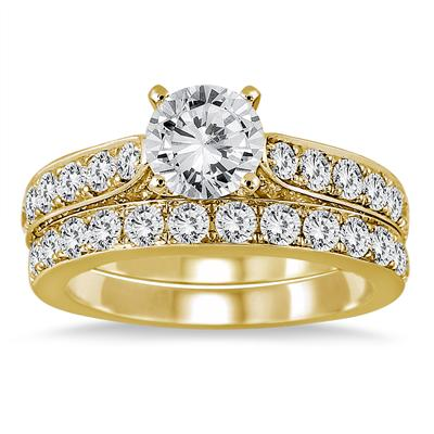 Diamond Bridal Set in 14K Yellow Gold