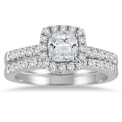 Cushion Cut Diamond Halo Bridal Set in 14K White Gold