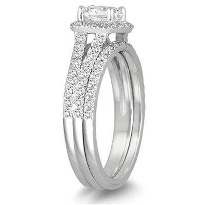 Cushion Cut Diamond Bridal Set in 14K White Gold