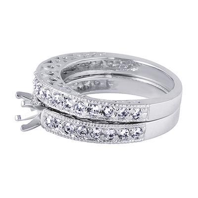 Antique Engraved Diamond Bridal Set in Platinum