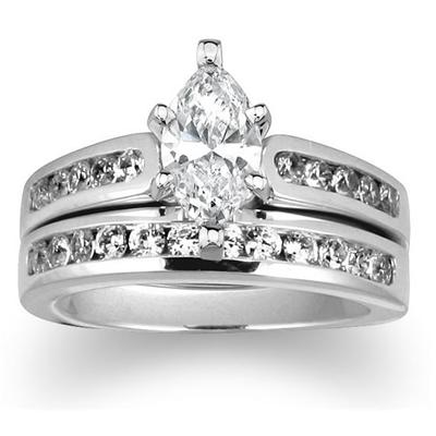 Diamond Channel Bridal Set in Platinum