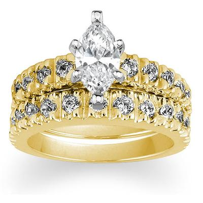 Diamond Bridal Set in Yellow Gold