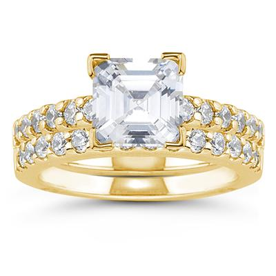 14k Yellow Gold Prong Set Diamond Engagement Ring with Matching Band