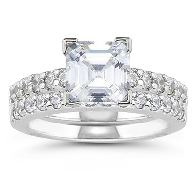Platinum Prong Set Diamond Engagement Ring with Matching Band