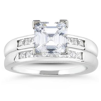 Platinum Channel Set Princess Engagement Ring with Matching Band