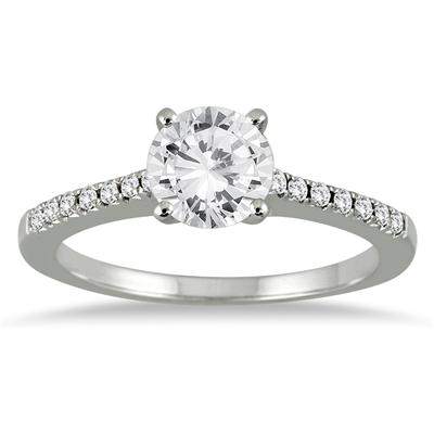 Engagement Ring with Round Side Stones in 14K White Gold