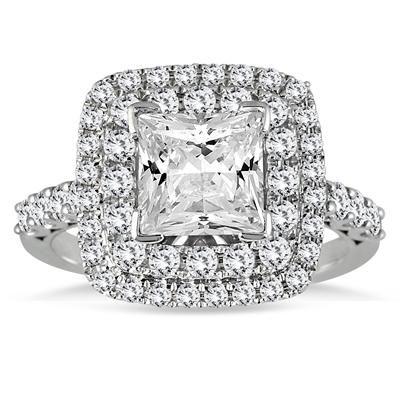 Princess Diamond Estate Engagement Ring in 14K White Gold