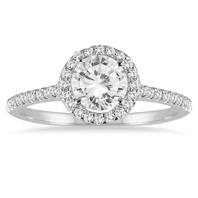 Diamond Halo Ring in 14K White Gold