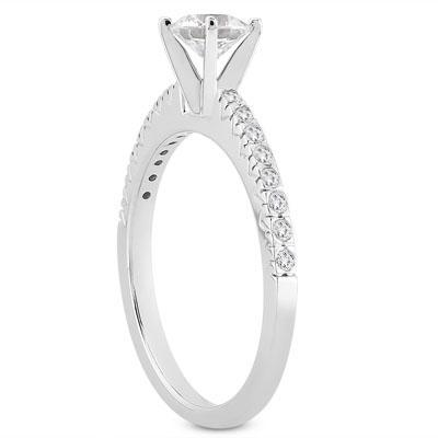 Diamond Fishtail Pave Ring in 14K White Gold