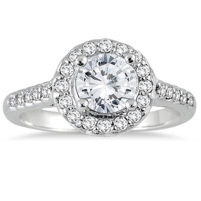 Diamond Halo Engagement Ring in 14K White Gold