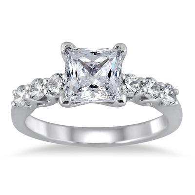 Princess Engagement Ring in 14K White Gold
