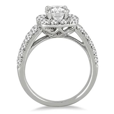 White Diamond Halo Engagement Ring in 14K White Gold