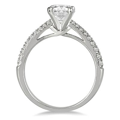 Diamond Pave Engagement Ring in 14K White Gold