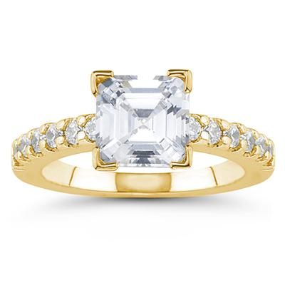 14k Yellow Gold Prong Set Diamond Engagement Ring