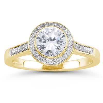 18k Yellow Gold Bezel Set Engagement Ring