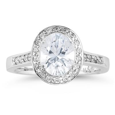 14k White Gold Bezel  Set Engagement Ring