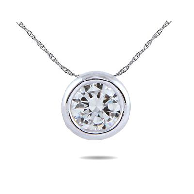 14K White Gold Bezal Set Round Solitaire Pendant Setting