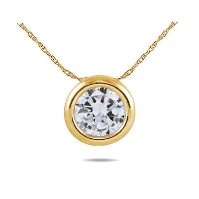 18K Yellow Gold Bezal Set Round Solitaire Pendant Setting