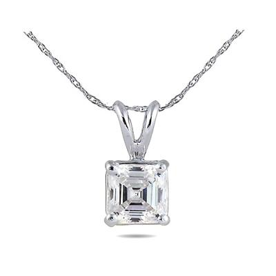 14K White Gold Prong Set Solitaire Pendant Setting