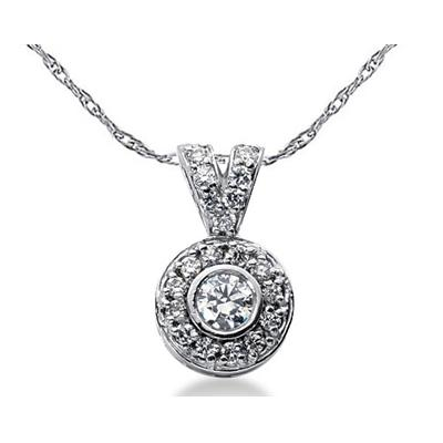 Bezel Set Round diamond with side stone Pendant Setting in 14K White Gold