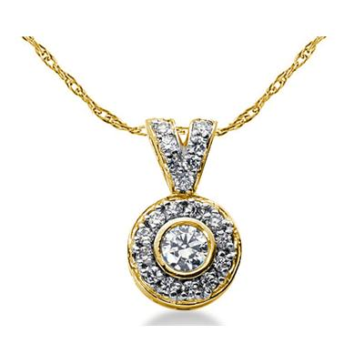 Bezal Set Round diamond with side stone Pendant Setting in 14K Yellow Gold