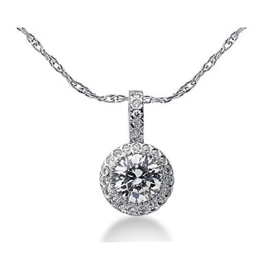 Prong Set Round diamond with side stone Pendant Setting in 14K White Gold