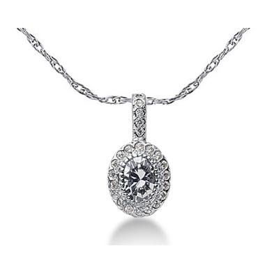 Prong Set Oval diamond with side stone Pendant Setting in 14K White Gold