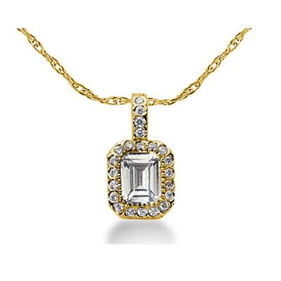 Prong Set Emerald diamond with side stone Pendant Setting in 14K Yellow Gold