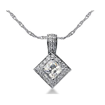 Prong Set Princess diamond with side stone Pendant Setting in 14K White Gold