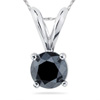 Black Diamond Solitaire Pendants in 14K White Gold