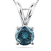Blue Diamond Solitaire Pendants in 14K White Gold