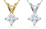 Princess Cut Diamond Solitaire Pendants in 14K Gold