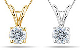 Round Diamond Solitaire Pendants in 14K Gold
