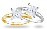 Princess Diamond Solitaire Rings in 14K Gold