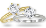 Round Diamond Solitaire Rings in 14K  Gold (Standard Quality)