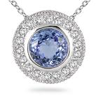 Tanzanite and Diamond Royal Pendant 14k White Gold