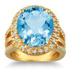 7.50 Carat Oval Cut Blue Topaz and Diamond Ring in 14K Yellow Gold