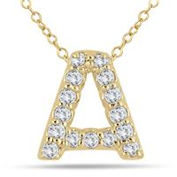 1/10 Carat A Initial Diamond Pendant in 10K Yellow Gold