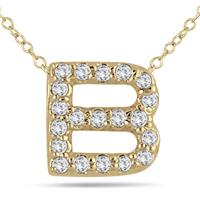 1/6 Carat B Initial Diamond Pendant in 10K Yellow Gold
