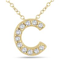 1/10 Carat C Initial Diamond Pendant in 10K Yellow Gold