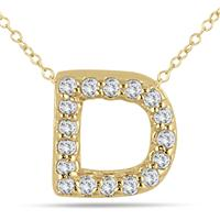 1/10 Carat D Initial Diamond Pendant in 10K Yellow Gold
