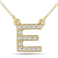 1/10 Carat E Initial Diamond Pendant in 10K Yellow Gold