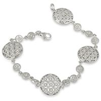1/2 Carat Antique Byzantine Bracelet in .925 Sterling Silver