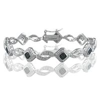 1/3 Carat TW Genuine Black and White Diamond Bracelet in .925 Sterling Silver