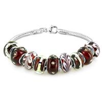 Hand Blown Merlot Glass Bead Bracelet with 14K White Gold Inlay