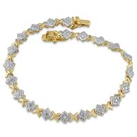 Diamond Bracelet in 18K Gold Plated Brass