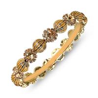 Citrine Crystal Gold Plated Antique Medium Bangle