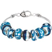 Winter Ice Blue Hand Blown Glass Bead Bracelet