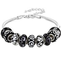 Black and White Glass Bead Charm Bracelet