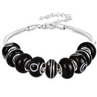 Black and White Evil Eye Glass Bead Bracelet